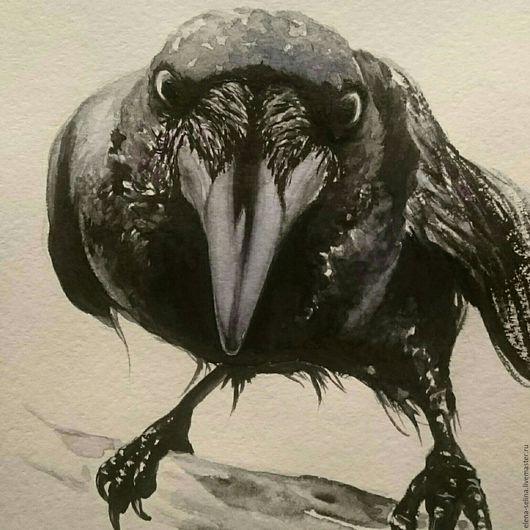 Животные ручной работы. Ярмарка Мастеров - ручная работа. Купить Ворон, оформлен в багет. Handmade. Чёрно-белый, птица, паспарту