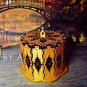 Для дома и интерьера ручной работы. Ярмарка Мастеров - ручная работа Ажурная золотая осенняя шкатулка для украшений точечная роспись. Handmade.
