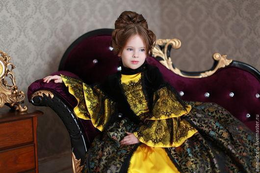 Одежда для девочек, ручной работы. Ярмарка Мастеров - ручная работа. Купить нарядное платье. Королева. Handmade. Черный, орнамент, бархат
