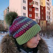 Шапки ручной работы. Ярмарка Мастеров - ручная работа Объемная утепленная шапочка. Handmade.