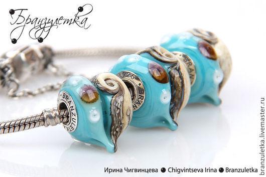 Для украшений ручной работы. Ярмарка Мастеров - ручная работа. Купить Бриз - 1 морская бусина сердечко шарм - вставки серебро 925. Handmade.