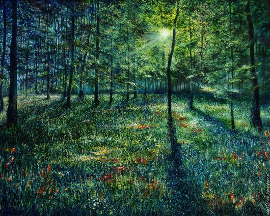 Пейзаж ручной работы. Ярмарка Мастеров - ручная работа. Купить В весеннем лесу. Handmade. Ярко-зелёный, лучи, лес