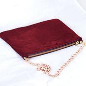 Сумки и аксессуары handmade. Livemaster - original item Burgundy suede clutch bag with chain art. 254. Handmade.