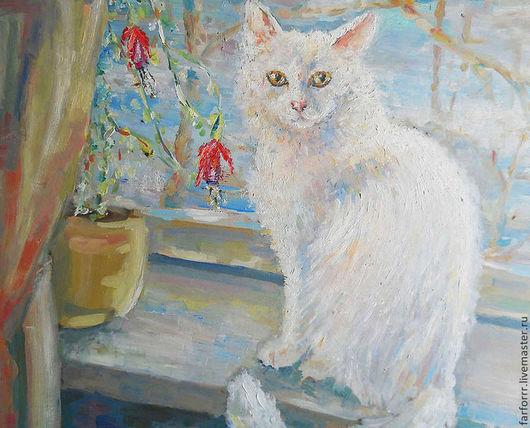 Животные ручной работы. Ярмарка Мастеров - ручная работа. Купить Картина. Белая кошка Бусинка.. Handmade. Белый, кошечка