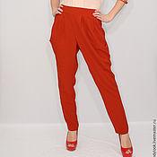 Одежда ручной работы. Ярмарка Мастеров - ручная работа РАЗМЕР 42 Офисные брюки с карманами в гаремном стиле, темно-рыжие. Handmade.