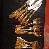 Винтаж ручной работы. Ярмарка Мастеров - ручная работа Винтажный набор столовых приборов в золоте!. Handmade.