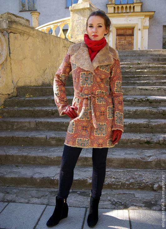 Red pattern coat, Women's sheepskin coat with an oriental pattern, Coats, Novosibirsk,  Фото №1