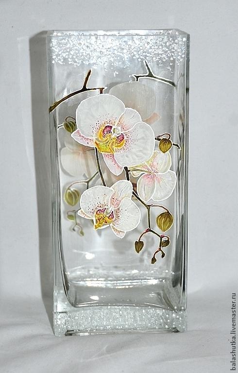 """Вазы ручной работы. Ярмарка Мастеров - ручная работа. Купить Ваза """"Орхидеи"""". Handmade. Орхидеи, авторская работа, витражные краски"""