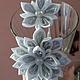 Комплекты аксессуаров ручной работы. Ярмарка Мастеров - ручная работа. Купить ободок из атласных лент- снежный цветок. Handmade.