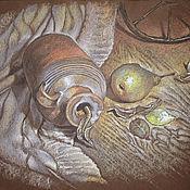 Картины и панно ручной работы. Ярмарка Мастеров - ручная работа натюрморт пастелью Пыльный кувшин и груша (кантри стиль, коричневый). Handmade.
