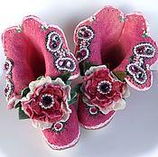 Обувь ручной работы handmade. Livemaster - original item Felted home Slippers Pink. Handmade.