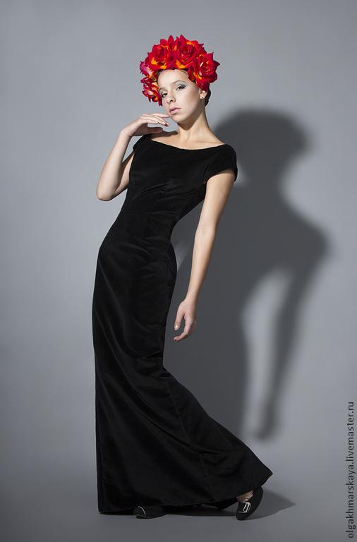Платья ручной работы. Ярмарка Мастеров - ручная работа. Купить Бархатное черное платье. Handmade. Черный, черное платье, Праздник
