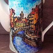 """Посуда ручной работы. Ярмарка Мастеров - ручная работа """"Улицы любимого города"""" - кофейник. Handmade."""
