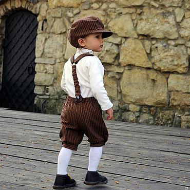 Работы для детей, ручной работы. Ярмарка Мастеров - ручная работа Нарядный комплект для мальчика: кепка, бабочка и шорты в клетку. Handmade.