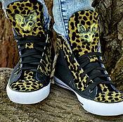 Обувь ручной работы. Ярмарка Мастеров - ручная работа Леопардовый - Сфинкс кот - КЕДЫ ручной работы - необычная обувь. Handmade.