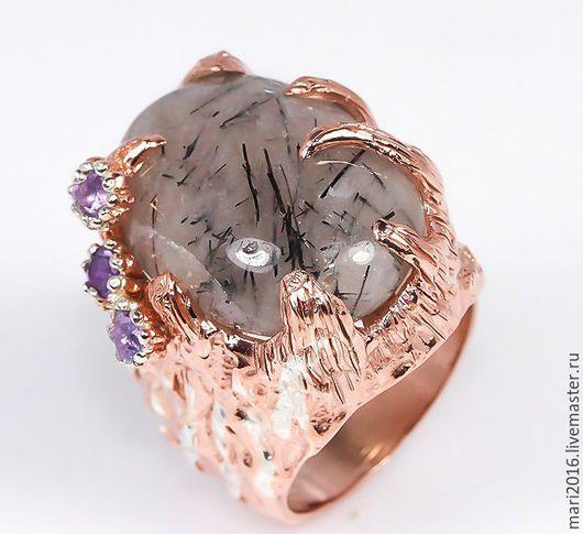 """Кольца ручной работы. Ярмарка Мастеров - ручная работа. Купить Крупный перстень """" Скарлетт"""" рутиловый кварц, аметист, серебро 925. Handmade."""