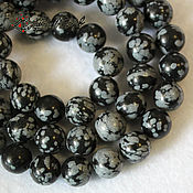 Beads1 handmade. Livemaster - original item Snow obsidian, 8 mm, smooth bead (volcanic glass). Handmade.