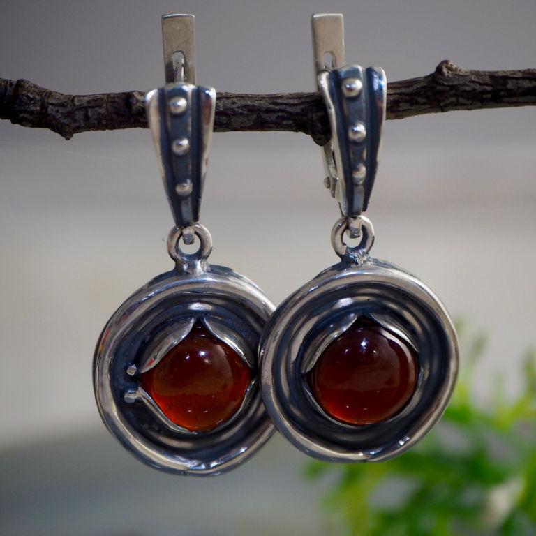 Earrings 'Eyes silver dragon' - hessonite garnet, silver, Earrings, Prague,  Фото №1