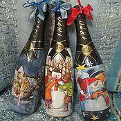 Сувениры и подарки ручной работы. Ярмарка Мастеров - ручная работа Декор праздничных бутылок,   комплектом. Handmade.