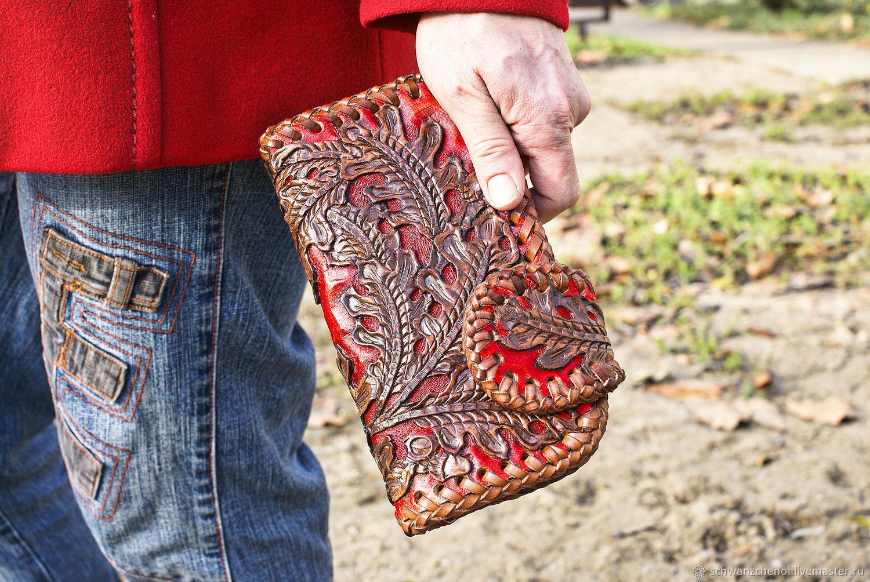 Wallet leather with oak leaves, Wallets, Krasnodar,  Фото №1