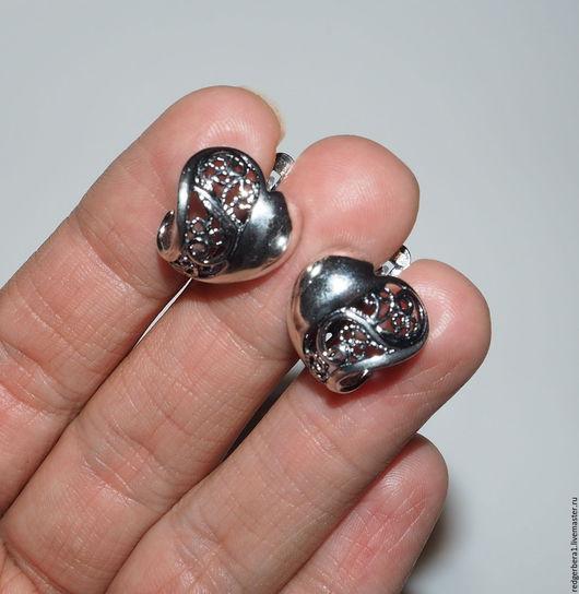 """Для украшений ручной работы. Ярмарка Мастеров - ручная работа. Купить З пары швензы """"Ажурное сердце"""" - серебрение 925 пробы. Handmade."""
