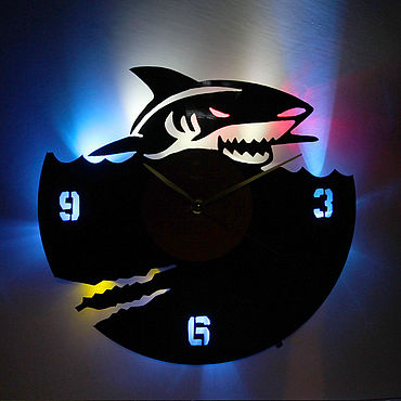 For home and interior handmade. Livemaster - original item Wall clock with LED backlight from shark vinyl record. Handmade.