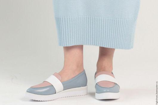 """Обувь ручной работы. Ярмарка Мастеров - ручная работа. Купить SALE! Лоферы """"Безмятежность"""". Handmade. Голубой, пастель, обувь на заказ"""