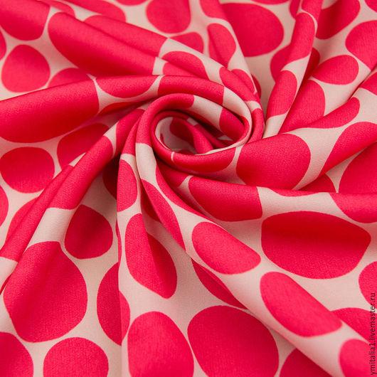 Шитье ручной работы. Ярмарка Мастеров - ручная работа. Купить Шелковый креп ГОРОХИ розово-коралловый MSGM. Handmade.