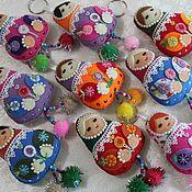 Русский стиль handmade. Livemaster - original item Matryoshka dolls: with pompoms, ,18 cm, keychain. Handmade.
