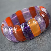 Украшения handmade. Livemaster - original item Amethyst and Carnelian Natural Stones Bracelet. Handmade.