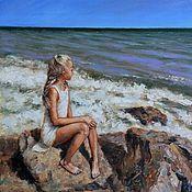 handmade. Livemaster - original item Girl and the sea. Oil on canvas on hardboard. 30h30 cm. Handmade.