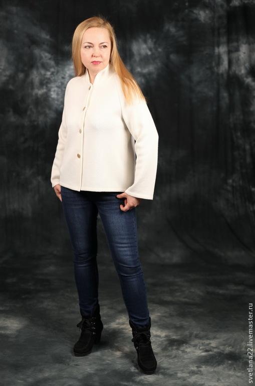 """Пиджаки, жакеты ручной работы. Ярмарка Мастеров - ручная работа. Купить Вязаный жакет """"Стильная штучка"""". Handmade. Белый"""