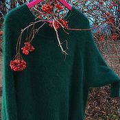 Одежда ручной работы. Ярмарка Мастеров - ручная работа изумрудный джемпер из ангора 80. Handmade.