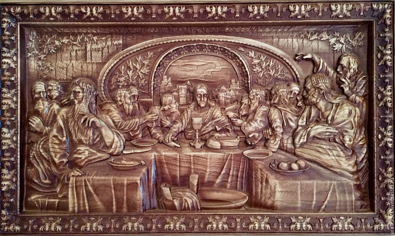 Amazon olive wood last supper plaque hand made in bethlehem