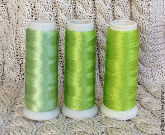 Вышивка ручной работы. Ярмарка Мастеров - ручная работа. Купить Вискозный шелк зеленый светлый. Handmade. Нитки, вискозный шелк