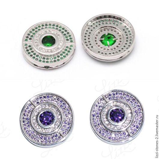Бусина Bulgari с зелеными и сиреневыми кристаллами серебро (Milano) Евгения (Lizzi-stones-2)