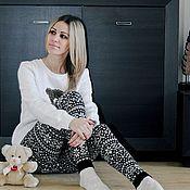 Одежда ручной работы. Ярмарка Мастеров - ручная работа Рейтузы  Белые звезды, купить леггинсы, зимние брюки. Handmade.