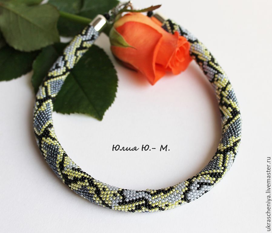 Harness beaded Snake, decoration, necklace, imitation snake skin, Necklace, Ryazan,  Фото №1