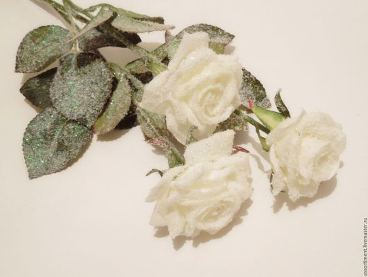 Материалы для флористики ручной работы. Ярмарка Мастеров - ручная работа. Купить Розы заснеженные 50 см. Handmade. Искусственные цветы