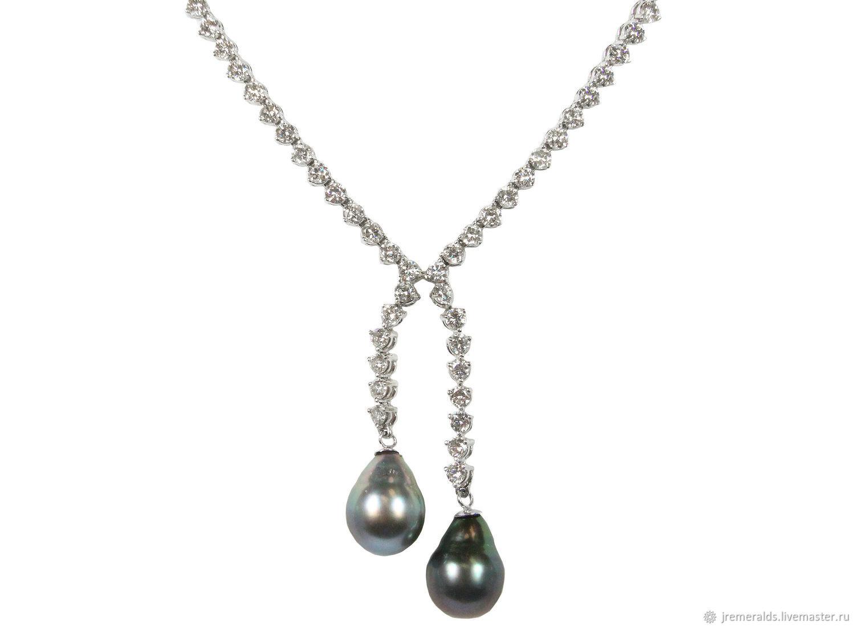 Tahitian Pearl & Diamond Riviera Necklace 14k, Pearl Diamond Riviera N, Necklace, West Palm Beach,  Фото №1