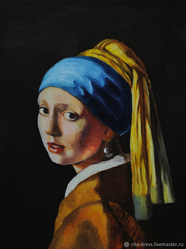 Portraits handmade. Livemaster - handmade. Buy Oil painting Of a girl with a pearl earring (Copy of Jan Vermeer).