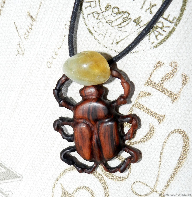 Pendant - amulet made of wood 'scarab' (Eben), Pendants, Domodedovo,  Фото №1