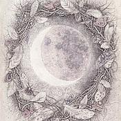 Картины и панно ручной работы. Ярмарка Мастеров - ручная работа Когда я смотрю на Луну (временно на выставке). Handmade.