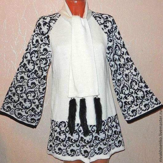Верхняя одежда ручной работы. Ярмарка Мастеров - ручная работа. Купить Пальто вязаное  жаккард черно-белый. Handmade.