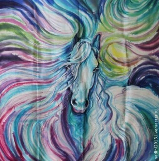 """Шали, палантины ручной работы. Ярмарка Мастеров - ручная работа. Купить Платок Батик """"Голубая лошадь"""". Handmade. платок батик"""