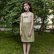 Работы для детей, ручной работы. Ярмарка Мастеров - ручная работа Платье-сарафан с бантиком - салатовое. Handmade.