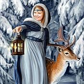 Картины и панно ручной работы. Ярмарка Мастеров - ручная работа Фотокартина девочка с олененком. Работа для примера. Handmade.