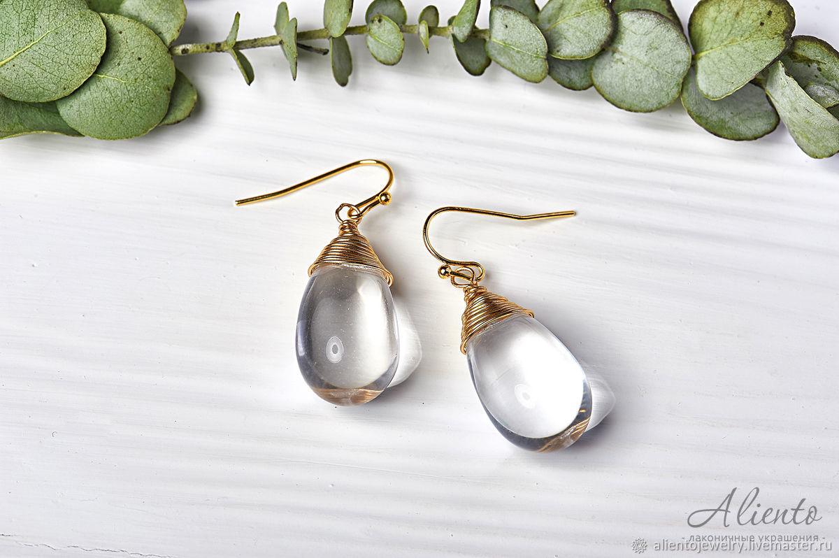 Large drop earrings in 24K gold, Earrings, Moscow,  Фото №1