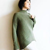 Одежда ручной работы. Ярмарка Мастеров - ручная работа Зеленый кашемировый свитер. Handmade.