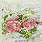 Материалы для творчества handmade. Livemaster - original item 16pcs napkins for decoupage Roses on sheet music print. Handmade.